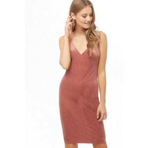 FOREVER 21 Mauve Ribbed Stretch Velvet Tank Dress